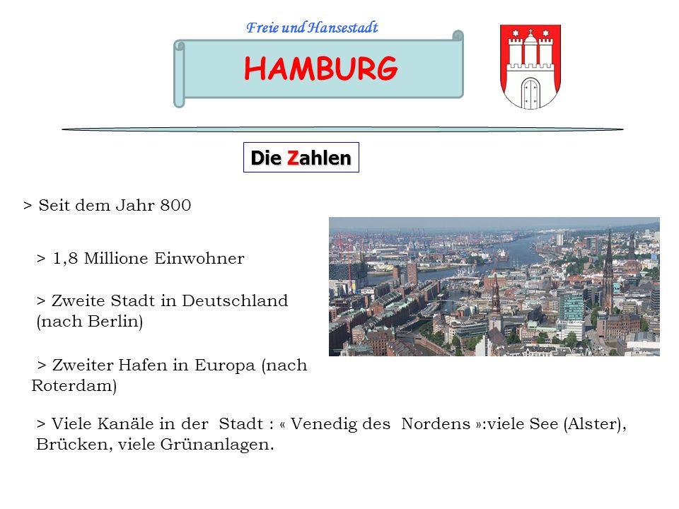 HAMBURG Freie und Hansestadt Die Zahlen > Zweite Stadt in Deutschland (nach Berlin) > 1,8 Millione Einwohner > Seit dem Jahr 800 > Zweiter Hafen in Eu