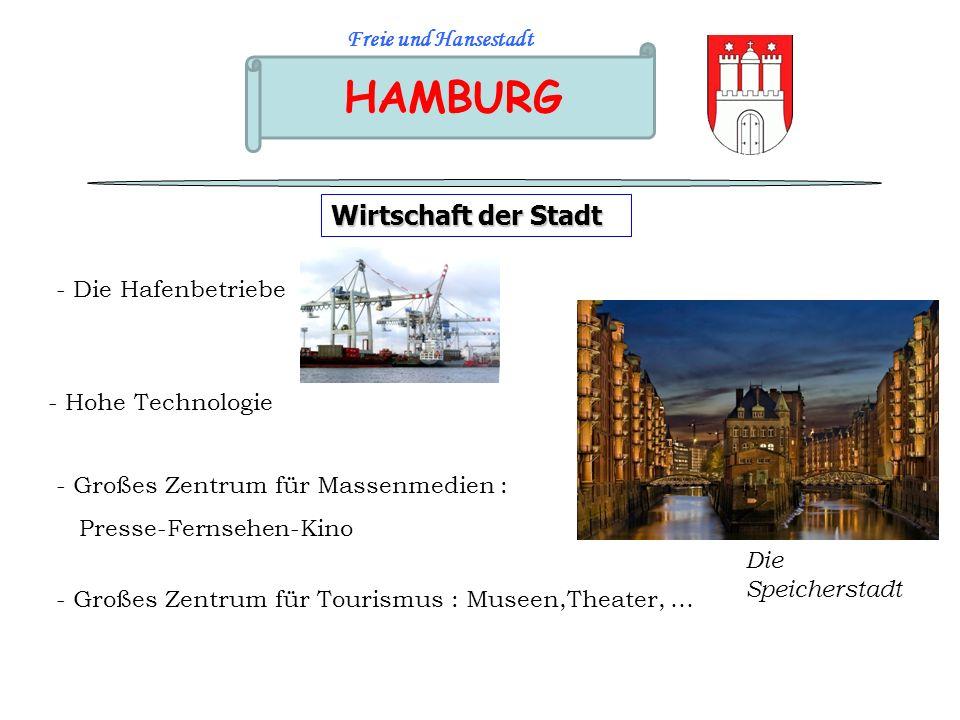HAMBURG Freie und Hansestadt Wirtschaft der Stadt - Die Hafenbetriebe - Hohe Technologie - Großes Zentrum für Massenmedien : Presse-Fernsehen-Kino - G