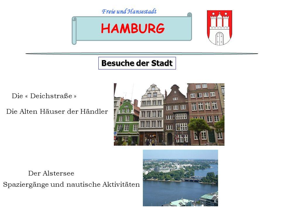 HAMBURG Freie und Hansestadt Besuche der Stadt Der Alstersee Die « Deichstraße » Die Alten Häuser der Händler Spaziergänge und nautische Aktivitäten