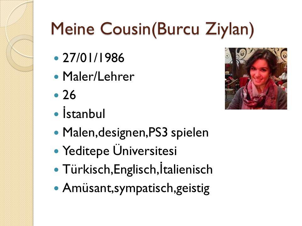Meine Cousin(Burcu Ziylan) 27/01/1986 Maler/Lehrer 26 İ stanbul Malen,designen,PS3 spielen Yeditepe Üniversitesi Türkisch,Englisch, İ talienisch Amüsant,sympatisch,geistig