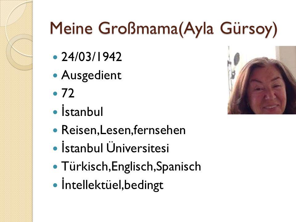 Meine Großmama(Ayla Gürsoy) 24/03/1942 Ausgedient 72 İ stanbul Reisen,Lesen,fernsehen İ stanbul Üniversitesi Türkisch,Englisch,Spanisch İ ntellektüel,bedingt