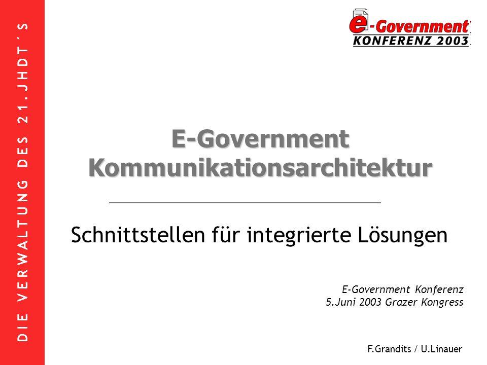 D I E V E R W A L T U N G D E S 2 1. J H D T ´ S F.Grandits / U.Linauer E-Government Kommunikationsarchitektur Schnittstellen für integrierte Lösungen