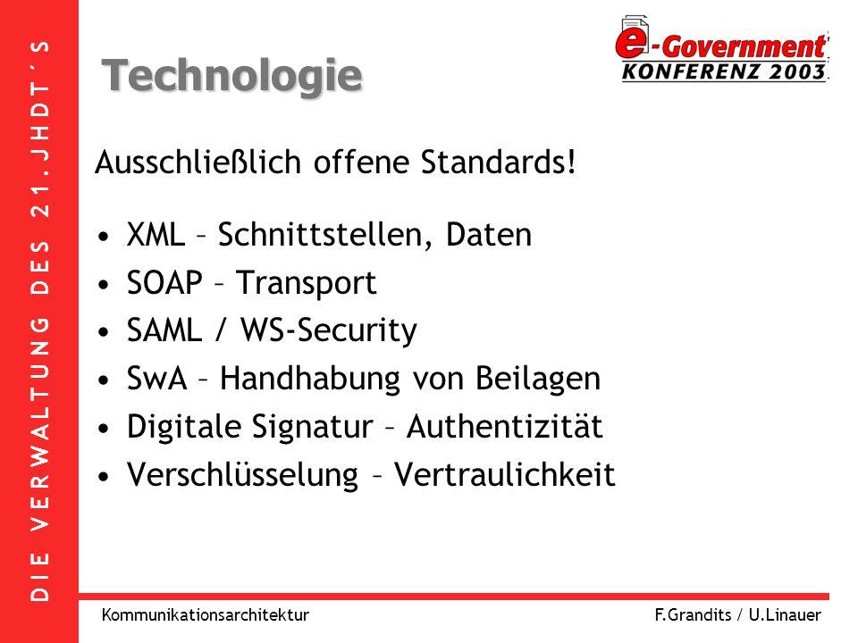 D I E V E R W A L T U N G D E S 2 1. J H D T ´ S KommunikationsarchitekturF.Grandits / U.Linauer Technologie Ausschließlich offene Standards! XML – Sc