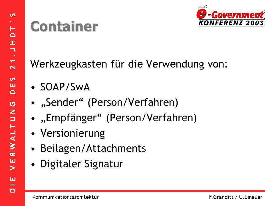 D I E V E R W A L T U N G D E S 2 1. J H D T ´ S KommunikationsarchitekturF.Grandits / U.Linauer Container Werkzeugkasten für die Verwendung von: SOAP