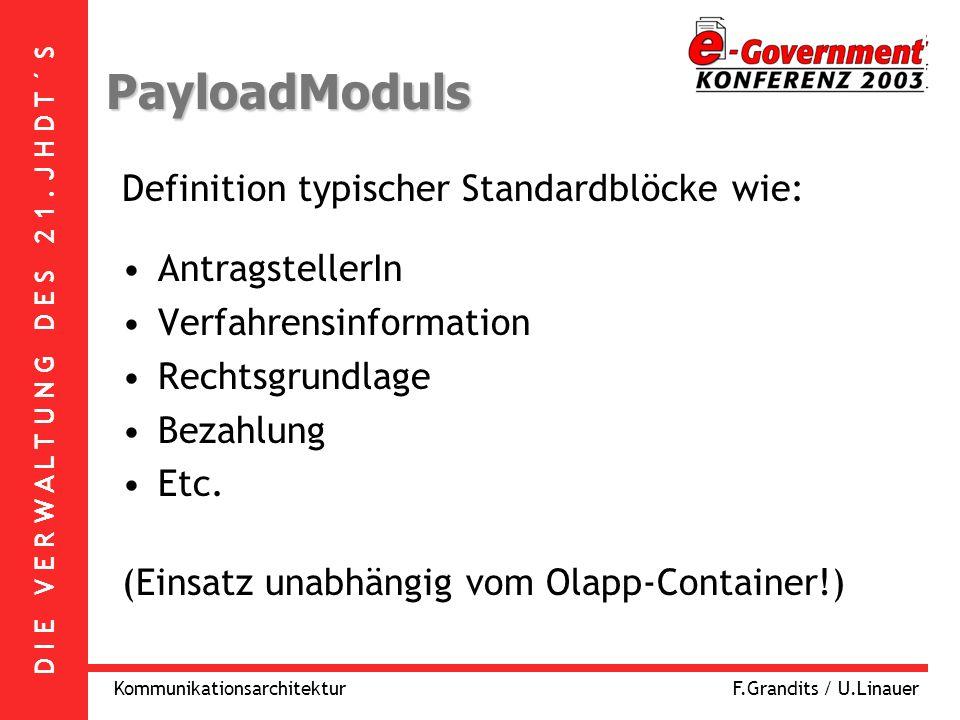 D I E V E R W A L T U N G D E S 2 1. J H D T ´ S KommunikationsarchitekturF.Grandits / U.Linauer PayloadModuls Definition typischer Standardblöcke wie
