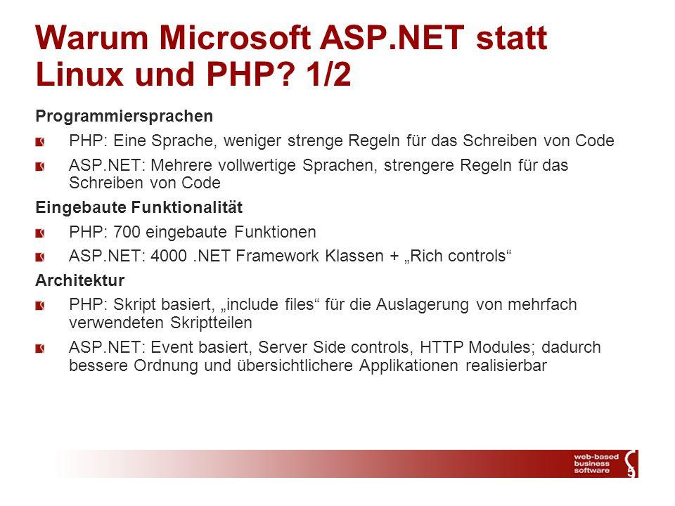 5 Warum Microsoft ASP.NET statt Linux und PHP.