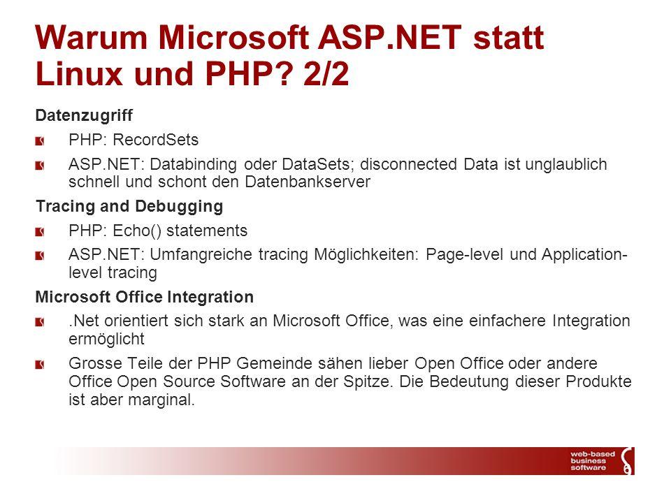 6 Warum Microsoft ASP.NET statt Linux und PHP.