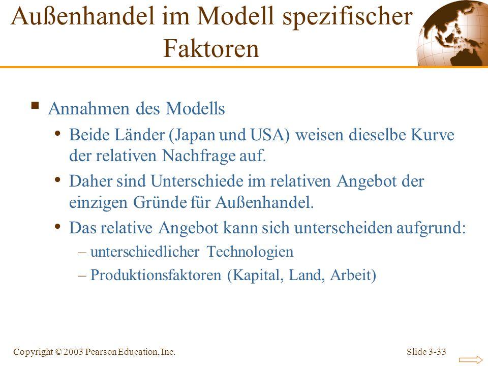 Slide 3-33Copyright © 2003 Pearson Education, Inc. Annahmen des Modells Beide Länder (Japan und USA) weisen dieselbe Kurve der relativen Nachfrage auf