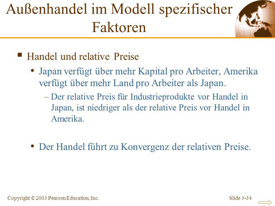 Slide 3-34Copyright © 2003 Pearson Education, Inc. Handel und relative Preise Japan verfügt über mehr Kapital pro Arbeiter, Amerika verfügt über mehr