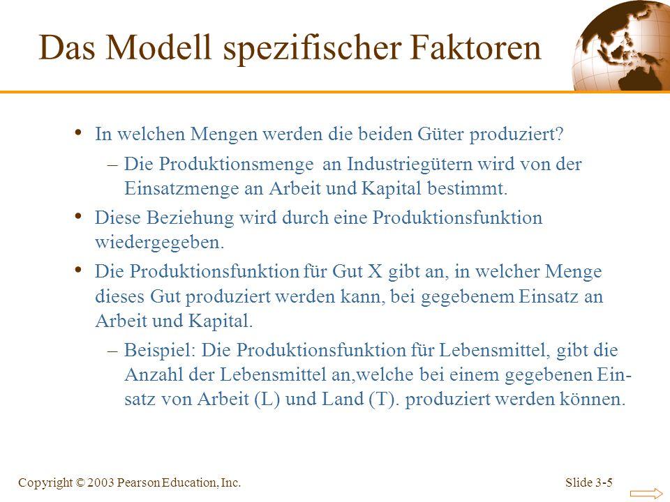 Slide 3-5Copyright © 2003 Pearson Education, Inc. In welchen Mengen werden die beiden Güter produziert? –Die Produktionsmenge an Industriegütern wird