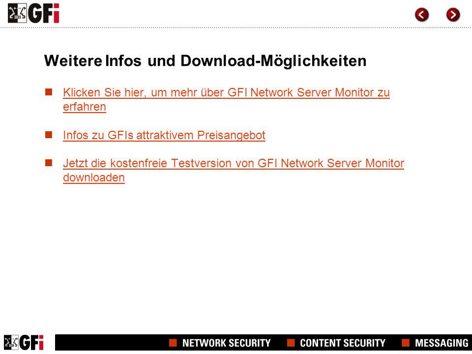 Weitere Infos und Download-Möglichkeiten Klicken Sie hier, um mehr über GFI Network Server Monitor zu erfahren Klicken Sie hier, um mehr über GFI Netw