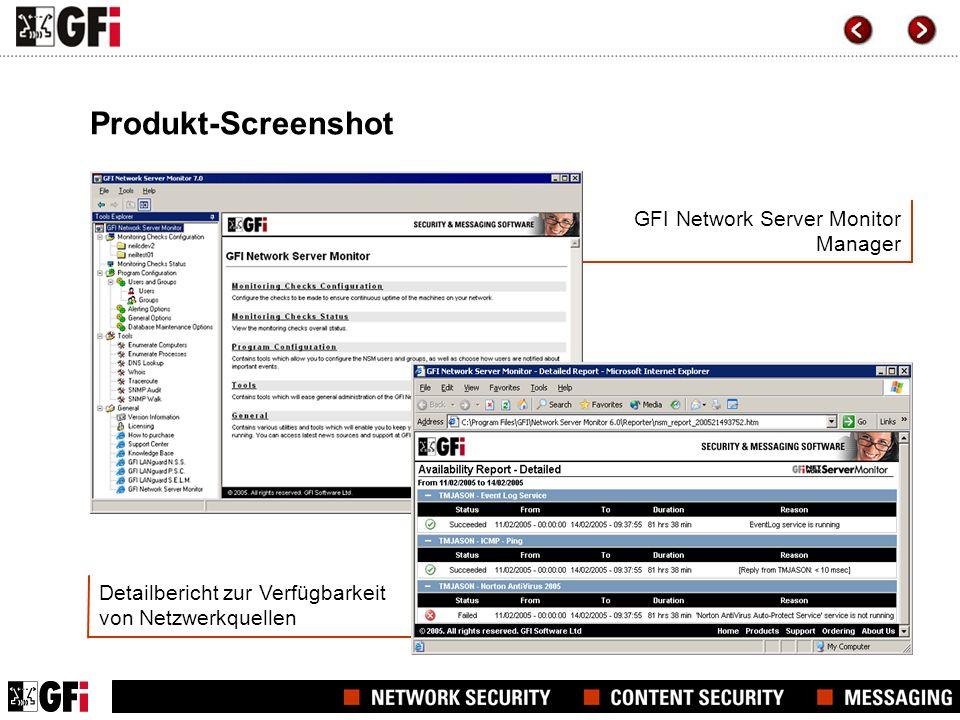 Detailbericht zur Verfügbarkeit von Netzwerkquellen GFI Network Server Monitor Manager Produkt-Screenshot