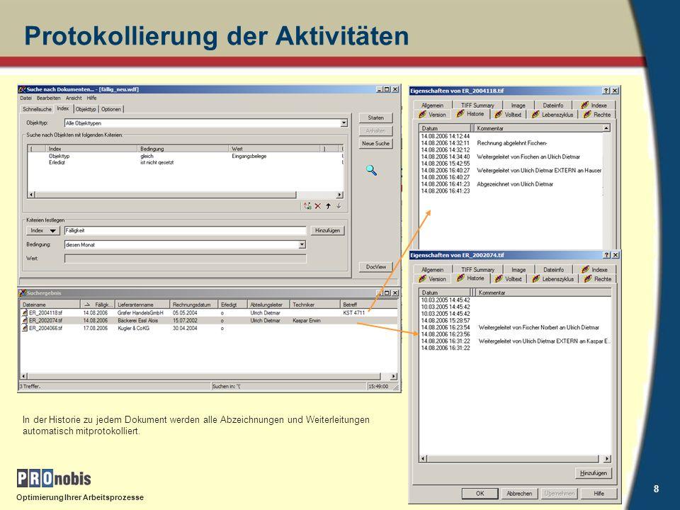 Optimierung Ihrer Arbeitsprozesse 9 NavisionLink - Windream Volle Integration in Navision Suche und Anzeige z.B.