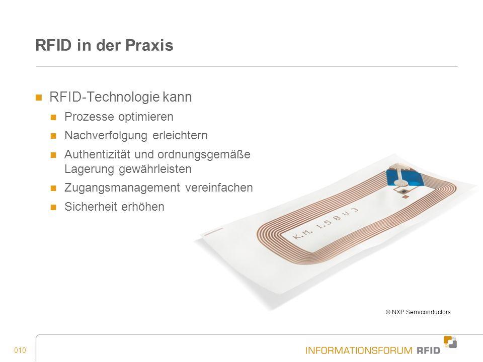 010 RFID in der Praxis RFID-Technologie kann Prozesse optimieren Nachverfolgung erleichtern Authentizität und ordnungsgemäße Lagerung gewährleisten Zu
