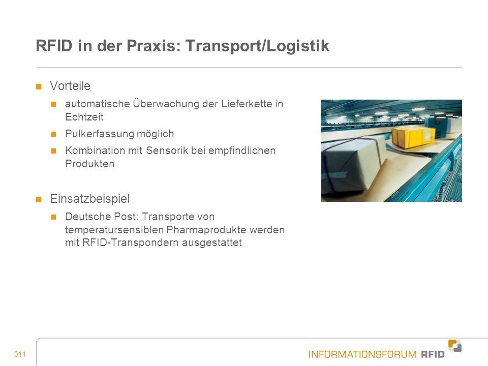 011 RFID in der Praxis: Transport/Logistik Vorteile automatische Überwachung der Lieferkette in Echtzeit Pulkerfassung möglich Kombination mit Sensori