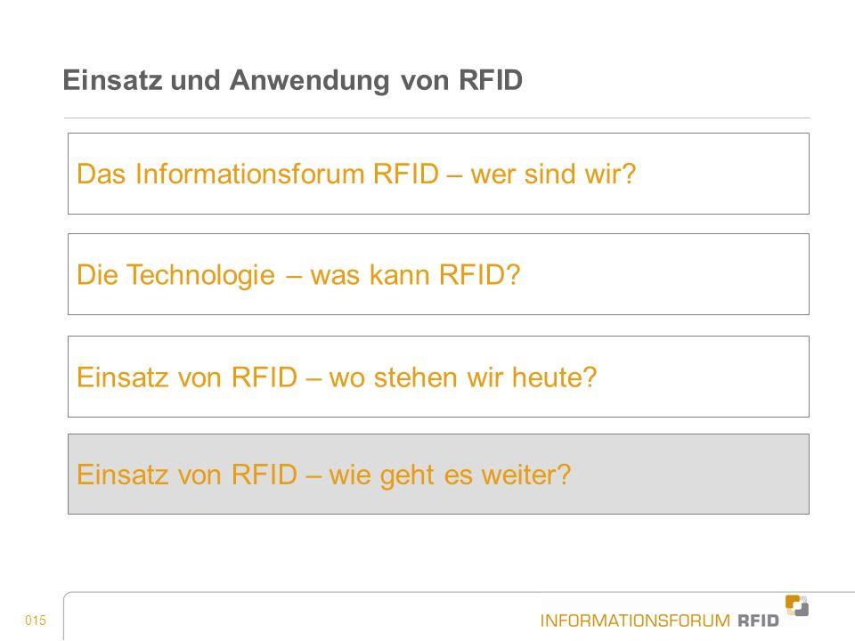 015 Einsatz und Anwendung von RFID Das Informationsforum RFID – wer sind wir? Einsatz von RFID – wo stehen wir heute? Einsatz von RFID – wie geht es w