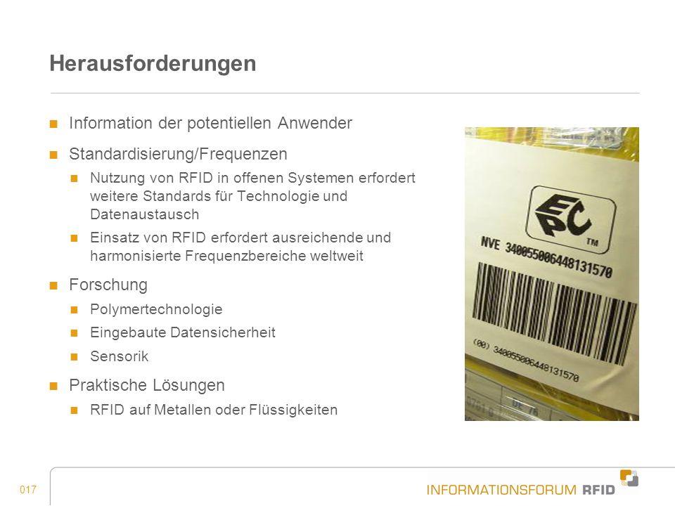 017 Herausforderungen Information der potentiellen Anwender Standardisierung/Frequenzen Nutzung von RFID in offenen Systemen erfordert weitere Standar