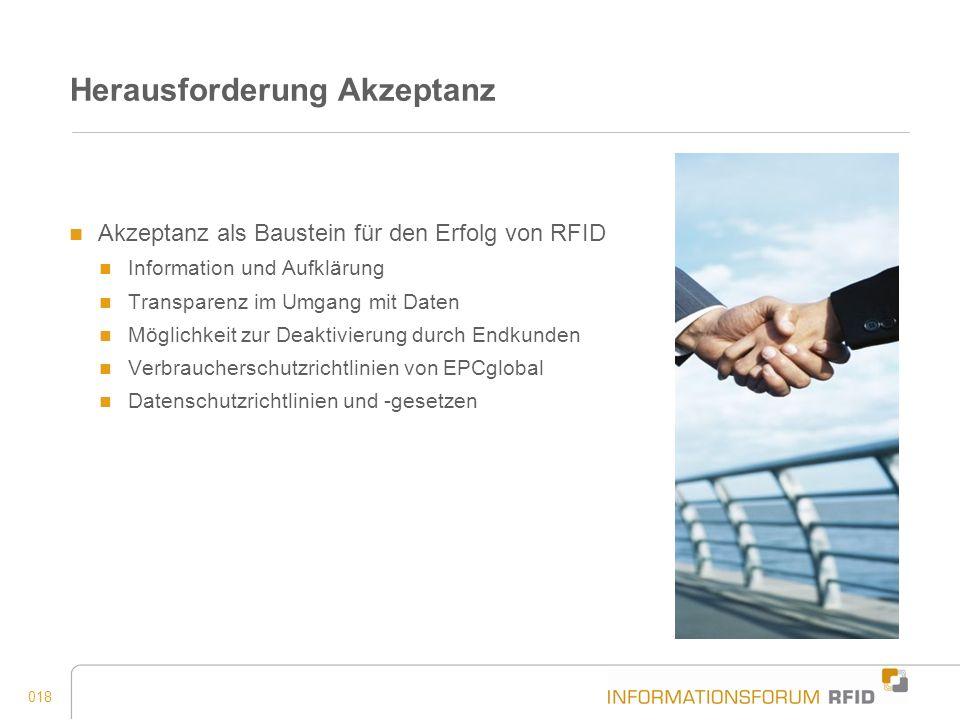 018 Herausforderung Akzeptanz Akzeptanz als Baustein für den Erfolg von RFID Information und Aufklärung Transparenz im Umgang mit Daten Möglichkeit zu