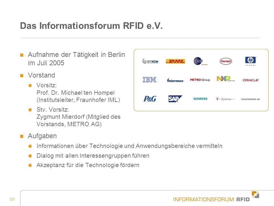 01 Das Informationsforum RFID e.V. Aufnahme der Tätigkeit in Berlin im Juli 2005 Vorstand Vorsitz: Prof. Dr. Michael ten Hompel (Institutsleiter, Frau