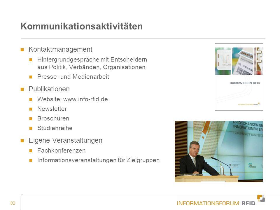 02 Kommunikationsaktivitäten Kontaktmanagement Hintergrundgespräche mit Entscheidern aus Politik, Verbänden, Organisationen Presse- und Medienarbeit P