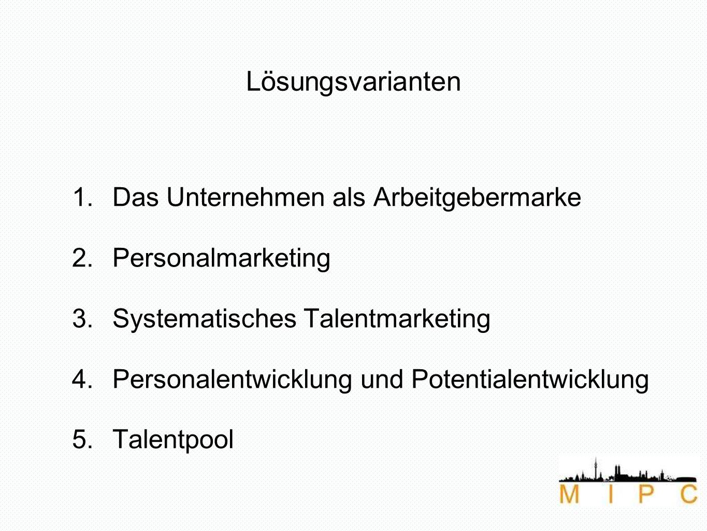 Lösungsvarianten 1.Das Unternehmen als Arbeitgebermarke 2.Personalmarketing 3.Systematisches Talentmarketing 4.Personalentwicklung und Potentialentwicklung 5.Talentpool