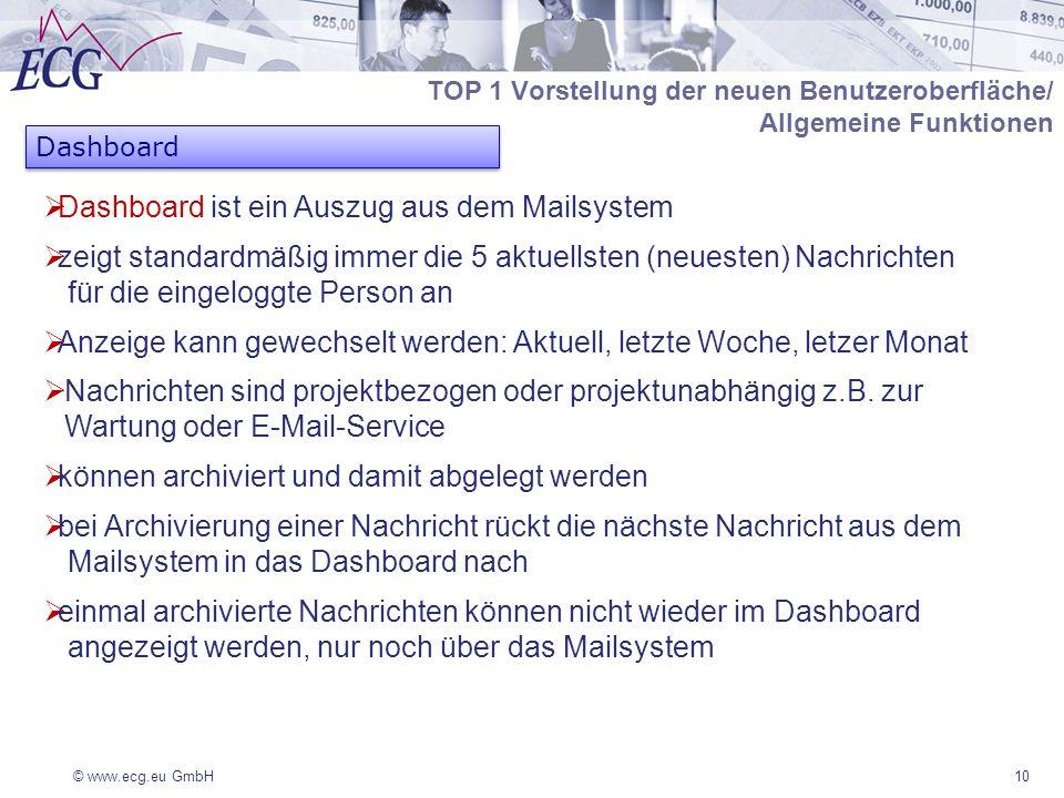 © www.ecg.eu GmbH10 TOP 1 Vorstellung der neuen Benutzeroberfläche/ Allgemeine Funktionen Dashboard ist ein Auszug aus dem Mailsystem zeigt standardmä