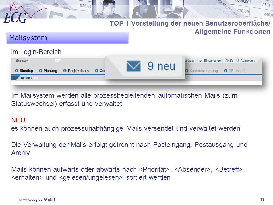 © www.ecg.eu GmbH11 Mailsystem Im Mailsystem werden alle prozessbegleitenden automatischen Mails (zum Statuswechsel) erfasst und verwaltet NEU: es können auch prozessunabhängige Mails versendet und verwaltet werden Die Verwaltung der Mails erfolgt getrennt nach Posteingang, Postausgang und Archiv Mails können aufwärts oder abwärts nach,,, und sortiert werden TOP 1 Vorstellung der neuen Benutzeroberfläche/ Allgemeine Funktionen im Login-Bereich