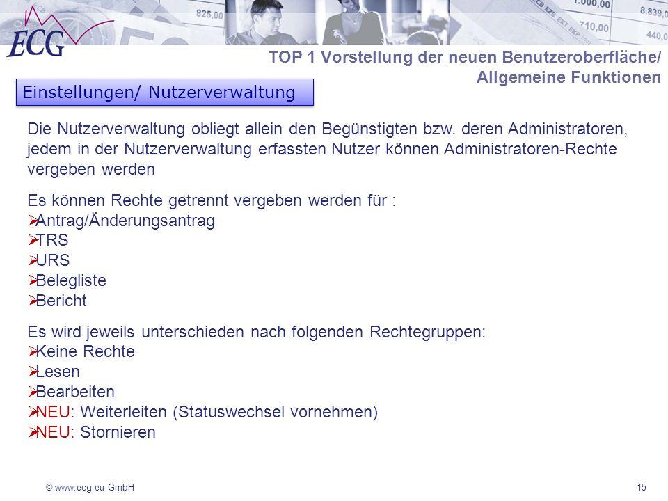 © www.ecg.eu GmbH15 Einstellungen/ Nutzerverwaltung Die Nutzerverwaltung obliegt allein den Begünstigten bzw. deren Administratoren, jedem in der Nutz