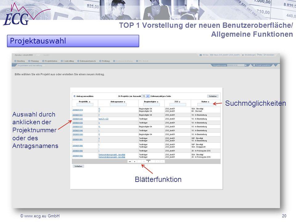 © www.ecg.eu GmbH20 Projektauswahl TOP 1 Vorstellung der neuen Benutzeroberfläche/ Allgemeine Funktionen Suchmöglichkeiten Auswahl durch anklicken der Projektnummer oder des Antragsnamens Blätterfunktion