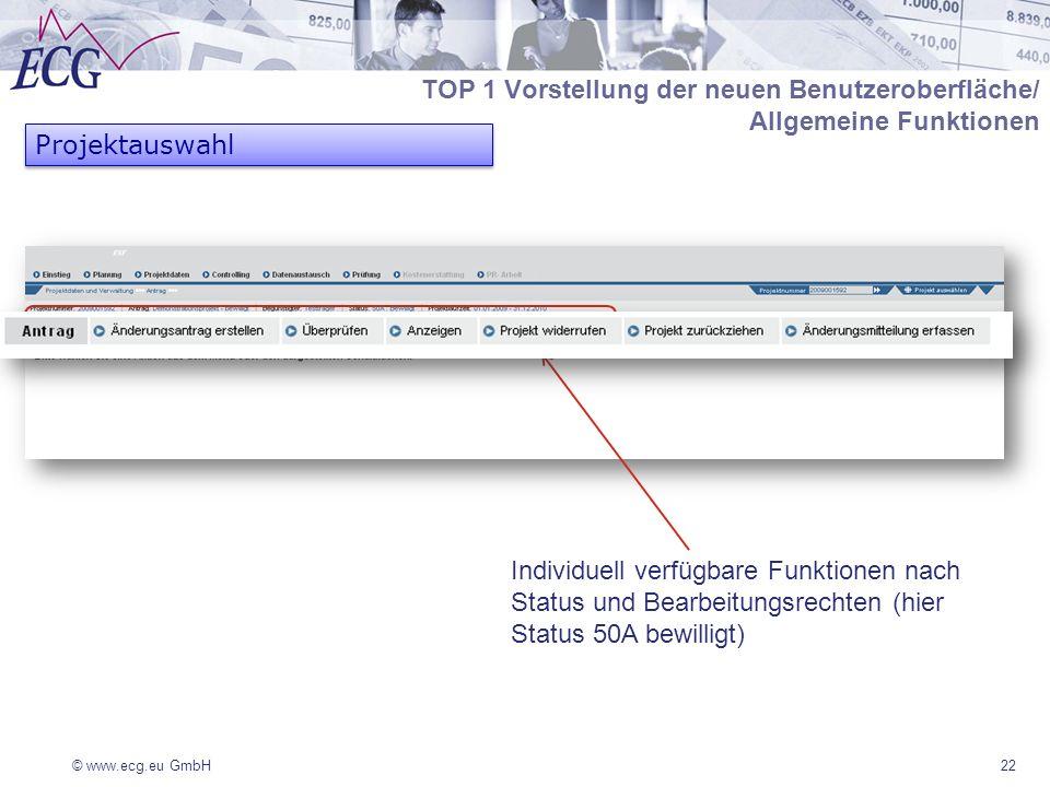© www.ecg.eu GmbH22 Projektauswahl TOP 1 Vorstellung der neuen Benutzeroberfläche/ Allgemeine Funktionen Individuell verfügbare Funktionen nach Status