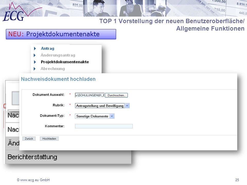 © www.ecg.eu GmbH25 NEU: Projektdokumentenakte TOP 1 Vorstellung der neuen Benutzeroberfläche/ Allgemeine Funktionen