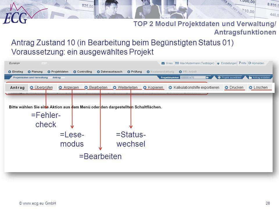© www.ecg.eu GmbH28 Antrag Zustand 10 (in Bearbeitung beim Begünstigten Status 01) Voraussetzung: ein ausgewähltes Projekt TOP 2 Modul Projektdaten und Verwaltung/ Antragsfunktionen =Fehler- check =Lese- modus =Bearbeiten =Status- wechsel
