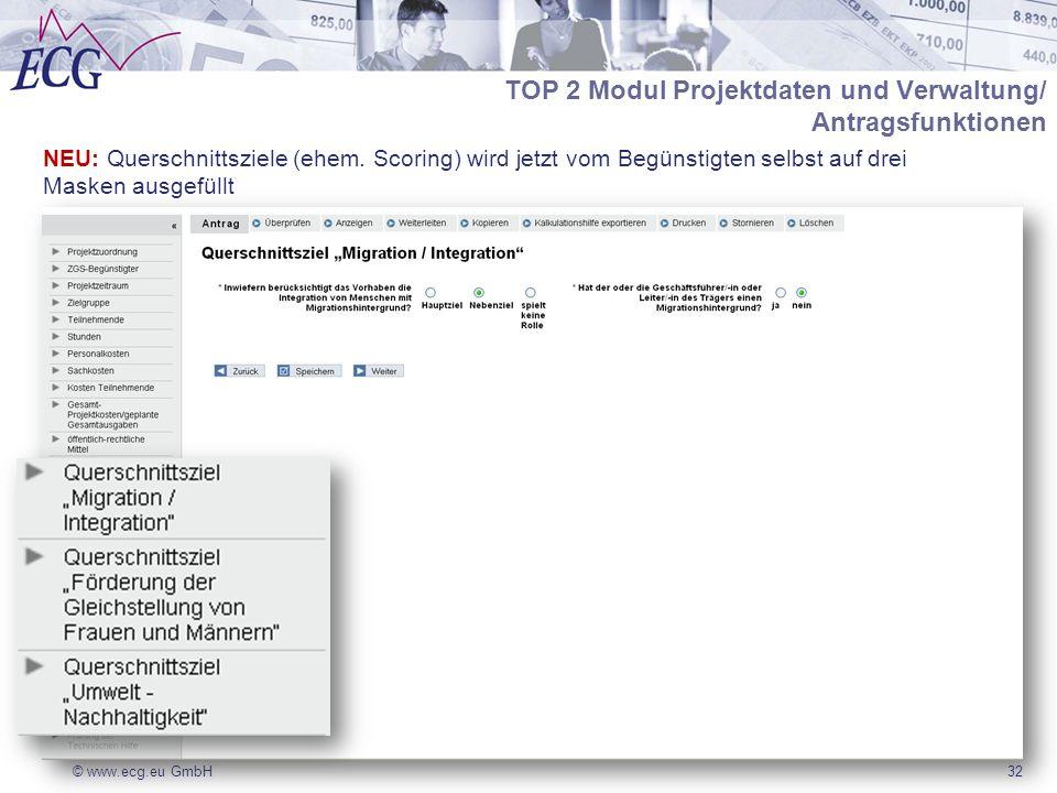 © www.ecg.eu GmbH32 NEU: Querschnittsziele (ehem. Scoring) wird jetzt vom Begünstigten selbst auf drei Masken ausgefüllt TOP 2 Modul Projektdaten und