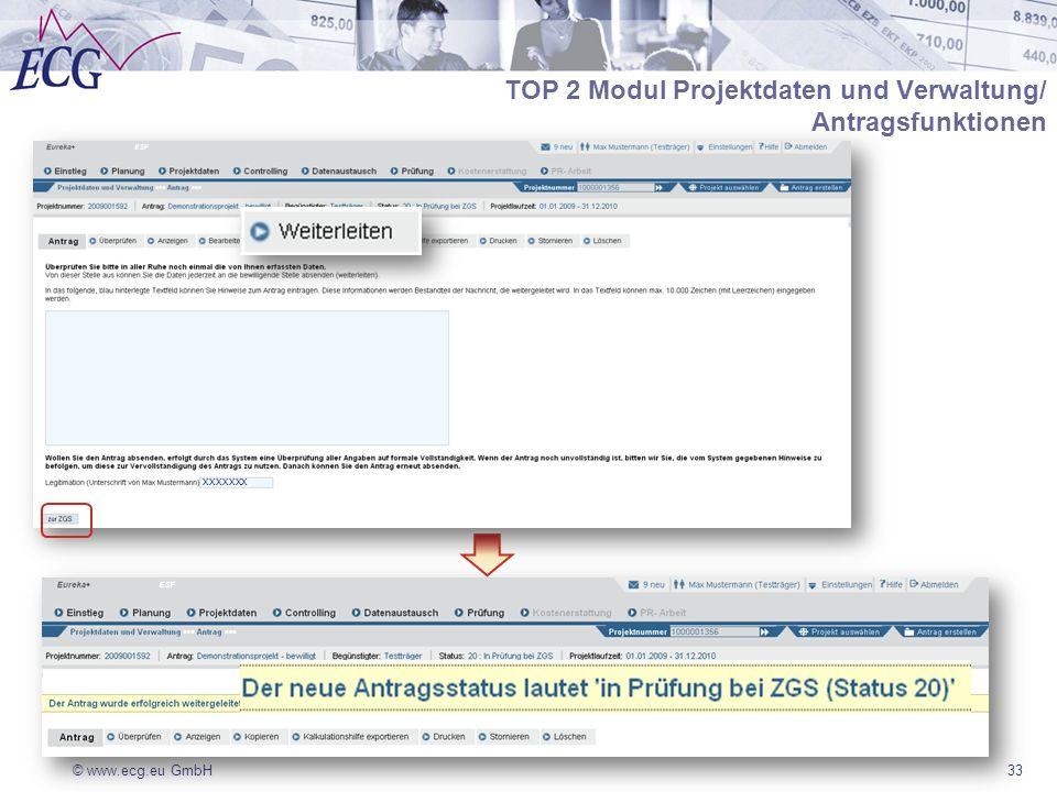 © www.ecg.eu GmbH33 TOP 2 Modul Projektdaten und Verwaltung/ Antragsfunktionen xxxxxxx