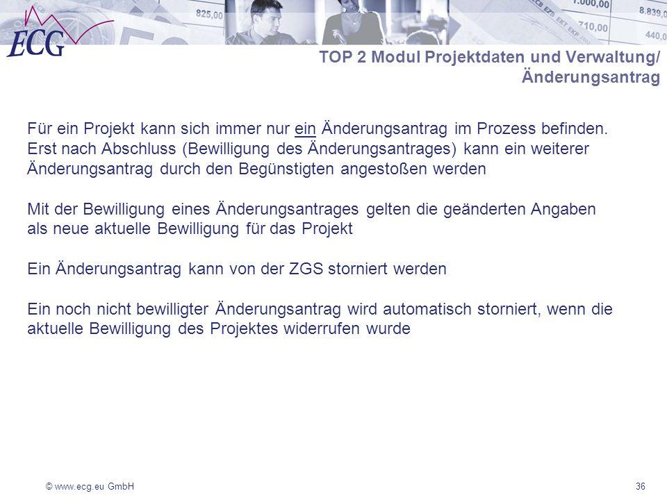 © www.ecg.eu GmbH36 Für ein Projekt kann sich immer nur ein Änderungsantrag im Prozess befinden. Erst nach Abschluss (Bewilligung des Änderungsantrage