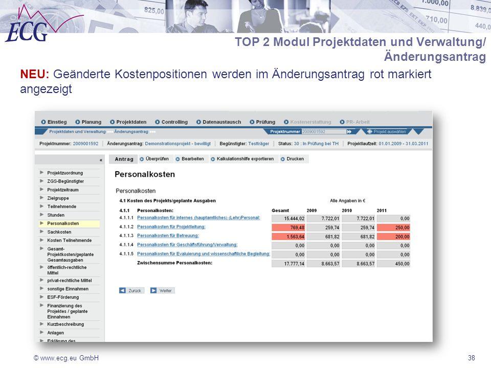 © www.ecg.eu GmbH38 NEU: Geänderte Kostenpositionen werden im Änderungsantrag rot markiert angezeigt TOP 2 Modul Projektdaten und Verwaltung/ Änderungsantrag