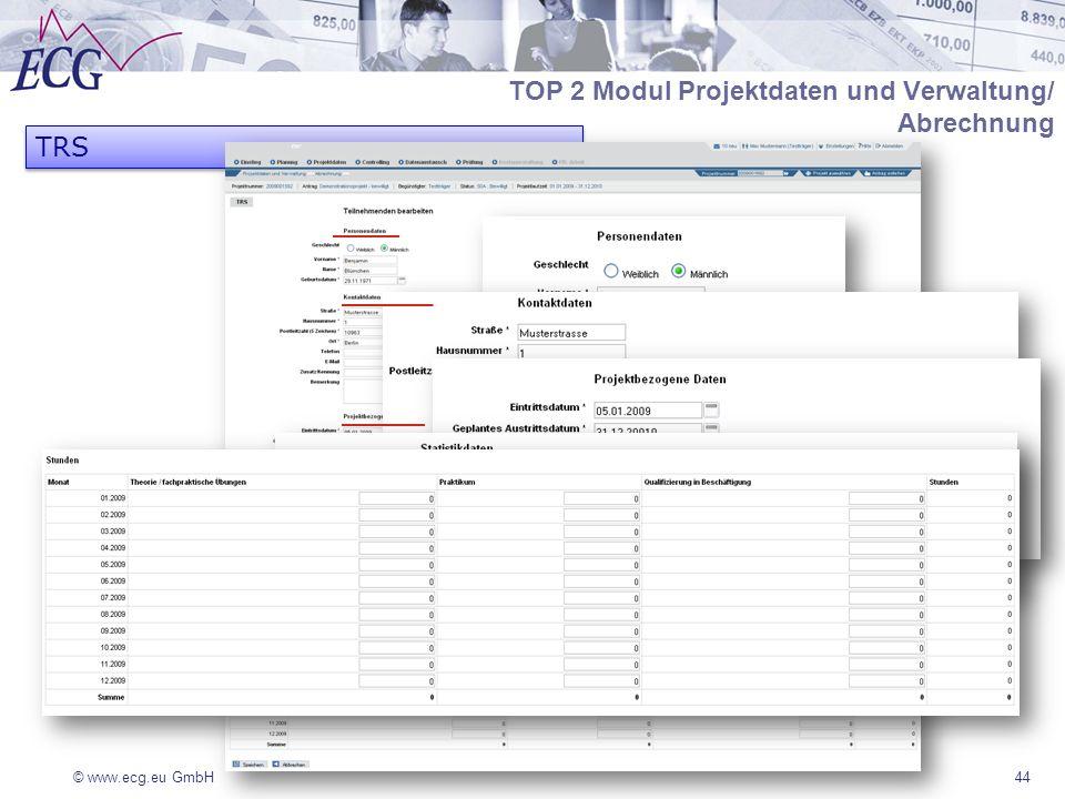 © www.ecg.eu GmbH TRS 44 TOP 2 Modul Projektdaten und Verwaltung/ Abrechnung