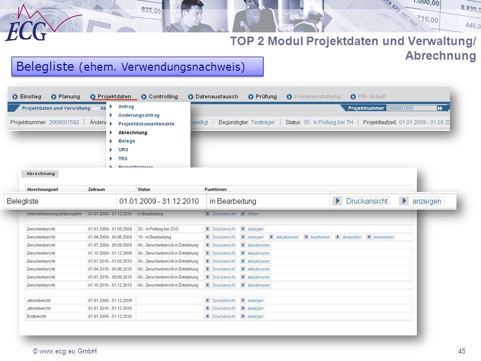 © www.ecg.eu GmbH45 TOP 2 Modul Projektdaten und Verwaltung/ Abrechnung Belegliste (ehem. Verwendungsnachweis)