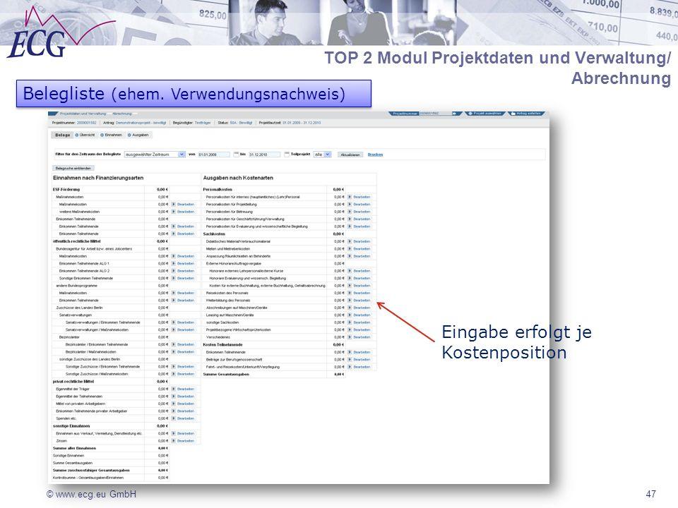 © www.ecg.eu GmbH47 Eingabe erfolgt je Kostenposition Belegliste (ehem. Verwendungsnachweis) TOP 2 Modul Projektdaten und Verwaltung/ Abrechnung