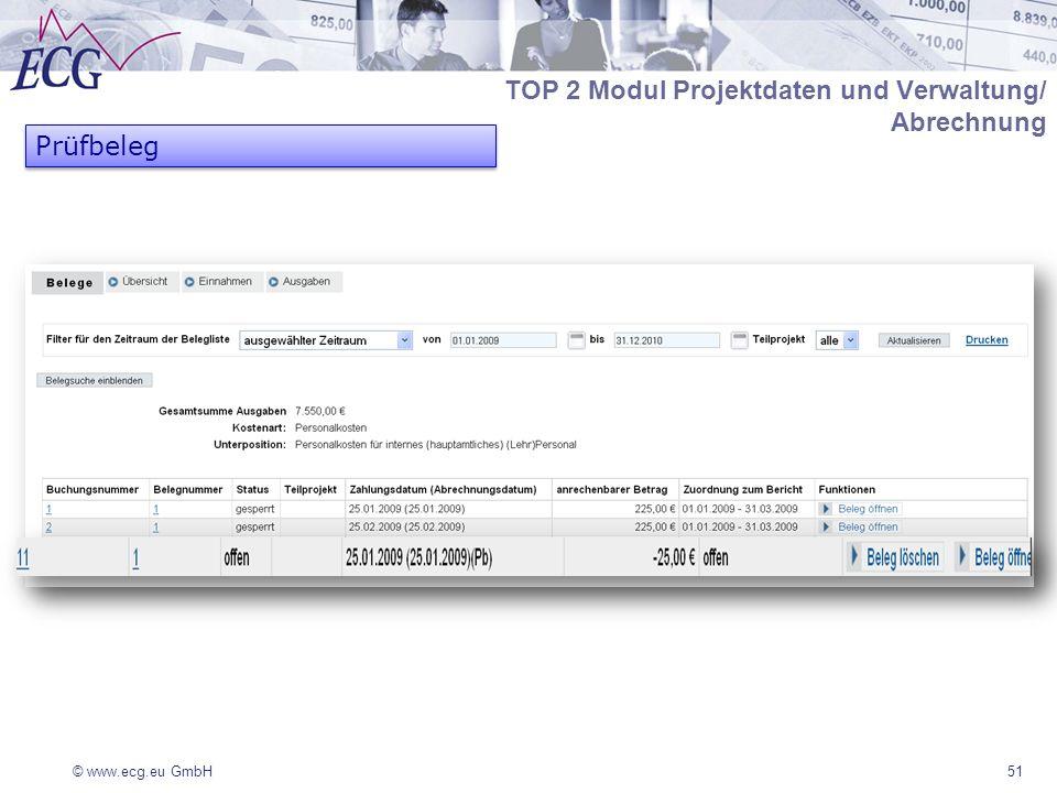 © www.ecg.eu GmbH51 TOP 2 Modul Projektdaten und Verwaltung/ Abrechnung Prüfbeleg