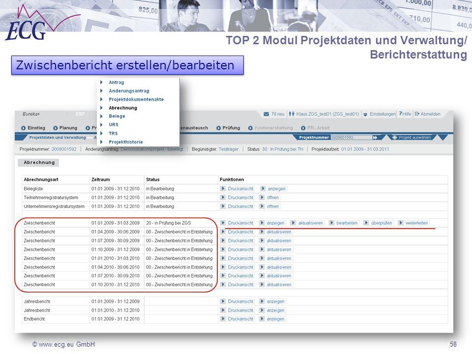 © www.ecg.eu GmbH58 Zwischenbericht erstellen/bearbeiten TOP 2 Modul Projektdaten und Verwaltung/ Berichterstattung