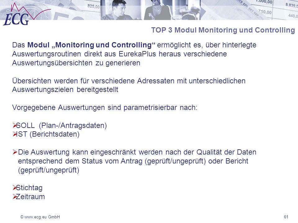 © www.ecg.eu GmbH61 TOP 3 Modul Monitoring und Controlling Das Modul Monitoring und Controlling ermöglicht es, über hinterlegte Auswertungsroutinen direkt aus EurekaPlus heraus verschiedene Auswertungsübersichten zu generieren Übersichten werden für verschiedene Adressaten mit unterschiedlichen Auswertungszielen bereitgestellt Vorgegebene Auswertungen sind parametrisierbar nach: SOLL (Plan-/Antragsdaten) IST (Berichtsdaten) Die Auswertung kann eingeschränkt werden nach der Qualität der Daten entsprechend dem Status vom Antrag (geprüft/ungeprüft) oder Bericht (geprüft/ungeprüft) Stichtag Zeitraum