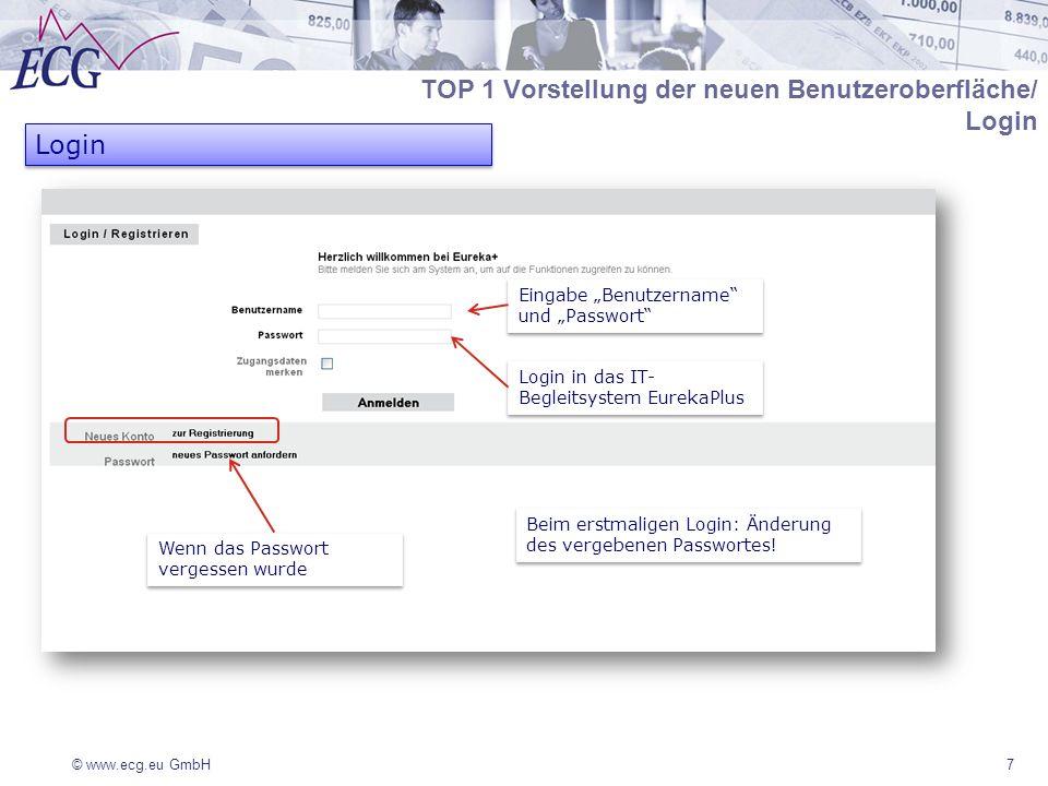 © www.ecg.eu GmbH7 TOP 1 Vorstellung der neuen Benutzeroberfläche/ Login Login Login in das IT- Begleitsystem EurekaPlus Eingabe Benutzername und Passwort Beim erstmaligen Login: Änderung des vergebenen Passwortes.