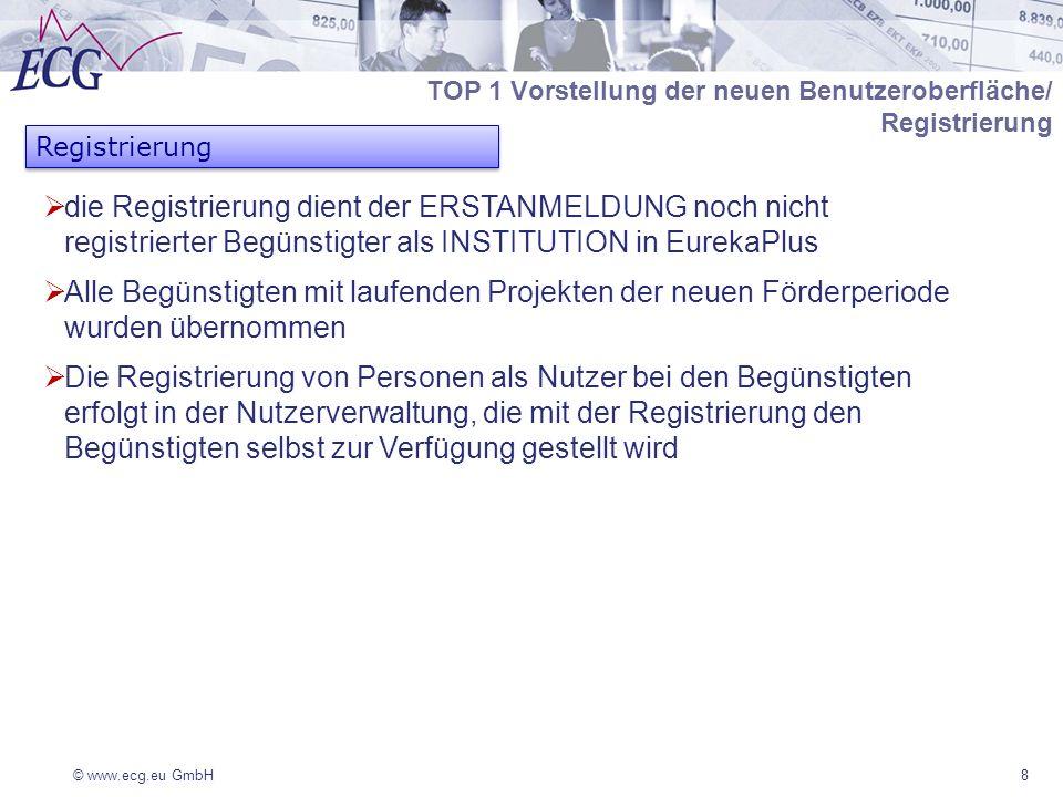 © www.ecg.eu GmbH8 Registrierung TOP 1 Vorstellung der neuen Benutzeroberfläche/ Registrierung die Registrierung dient der ERSTANMELDUNG noch nicht registrierter Begünstigter als INSTITUTION in EurekaPlus Alle Begünstigten mit laufenden Projekten der neuen Förderperiode wurden übernommen Die Registrierung von Personen als Nutzer bei den Begünstigten erfolgt in der Nutzerverwaltung, die mit der Registrierung den Begünstigten selbst zur Verfügung gestellt wird