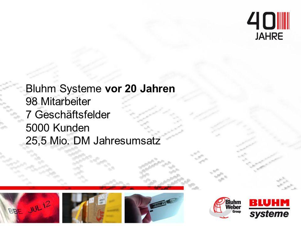 Bluhm Systeme vor 20 Jahren 98 Mitarbeiter 7 Geschäftsfelder 5000 Kunden 25,5 Mio. DM Jahresumsatz