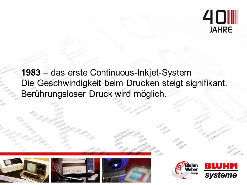 1983 – das erste Continuous-Inkjet-System Die Geschwindigkeit beim Drucken steigt signifikant.