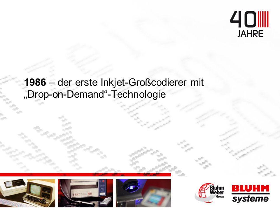 1986 – der erste Inkjet-Großcodierer mit Drop-on-Demand-Technologie