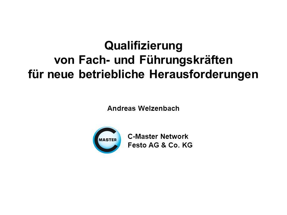 Qualifizierung von Fach- und Führungskräften für neue betriebliche Herausforderungen Andreas Welzenbach C-Master Network Festo AG & Co.