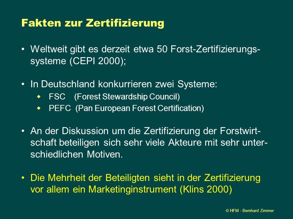 HFM - Bernhard Zimmer Fakten zur Zertifizierung Weltweit gibt es derzeit etwa 50 Forst-Zertifizierungs- systeme (CEPI 2000); In Deutschland konkurrier