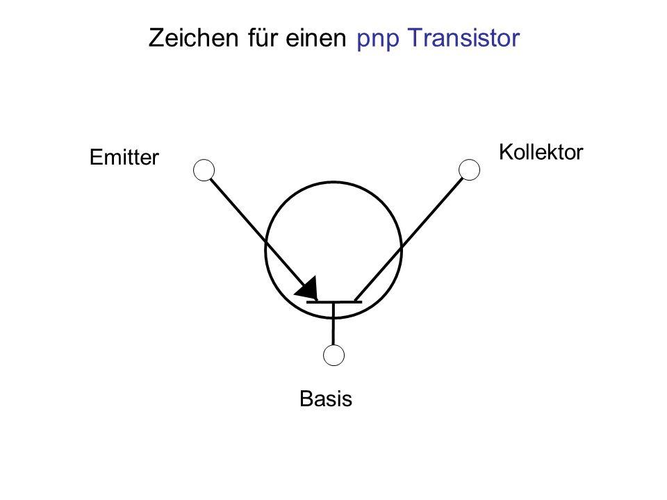 Zeichen für einen pnp Transistor Kollektor Emitter Basis